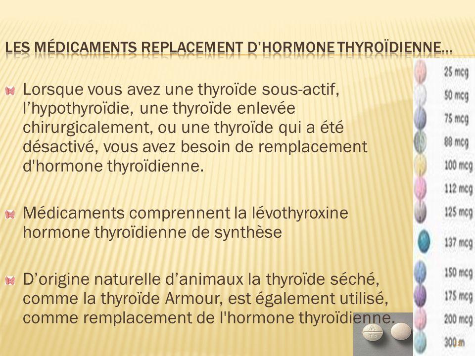 Les médicaments replacement d'hormone thyroïdienne…