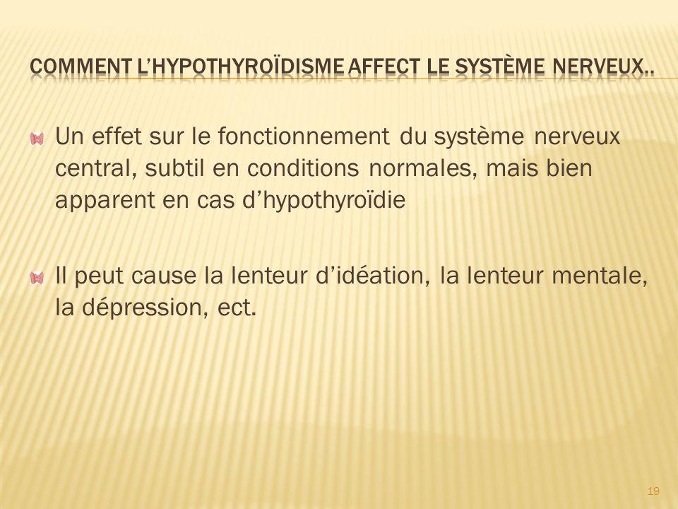 Comment L'hypothyroïdisme affect le système nerveux..
