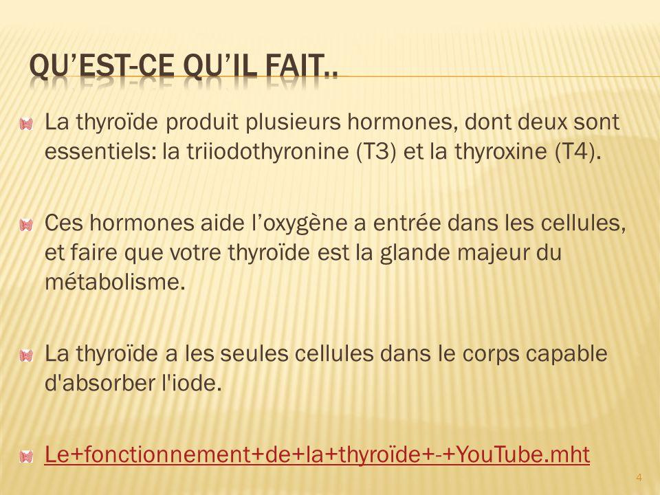 Qu'est-ce qu'il fait.. La thyroïde produit plusieurs hormones, dont deux sont essentiels: la triiodothyronine (T3) et la thyroxine (T4).