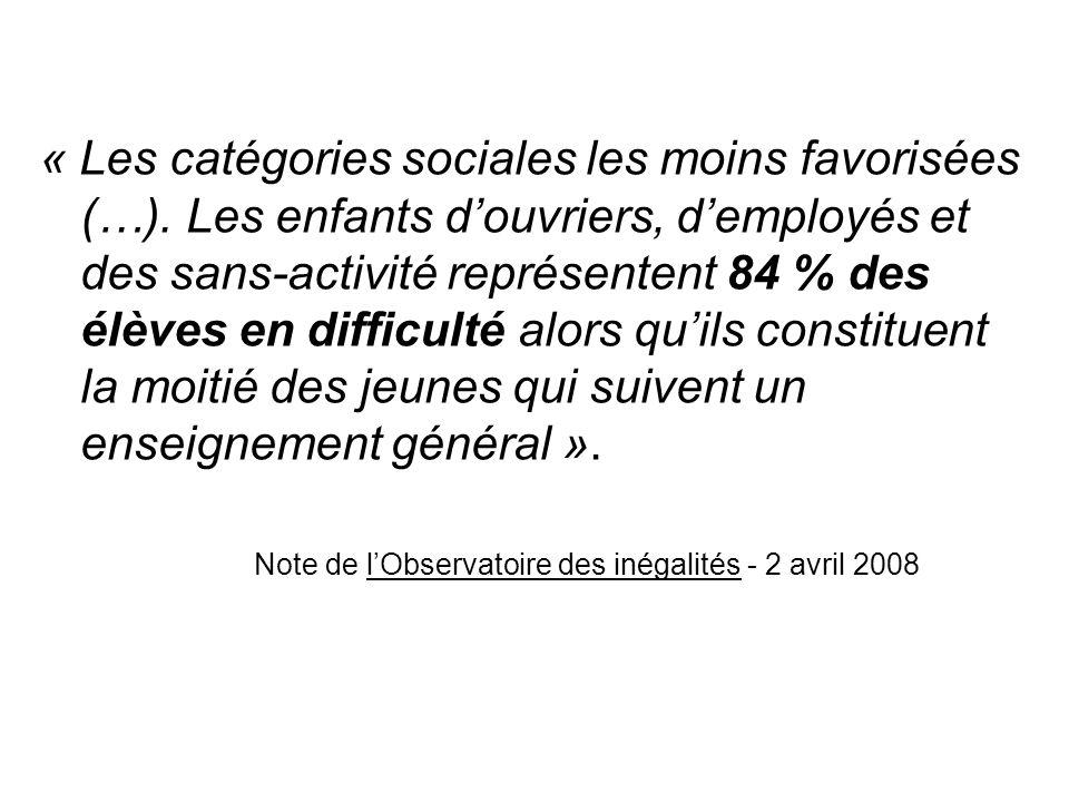 « Les catégories sociales les moins favorisées (…)