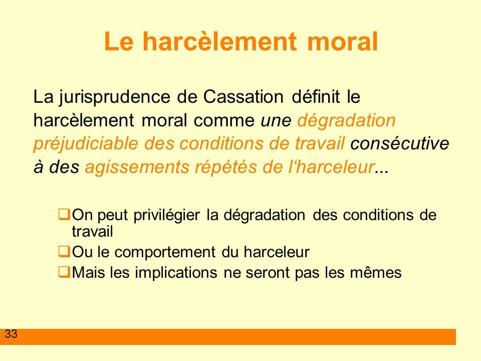 Le harcèlement moral La jurisprudence de Cassation définit le