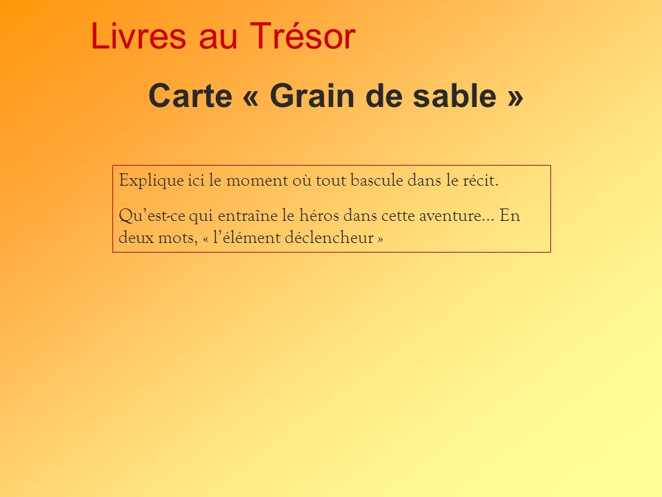 Livres au Trésor Carte « Grain de sable »