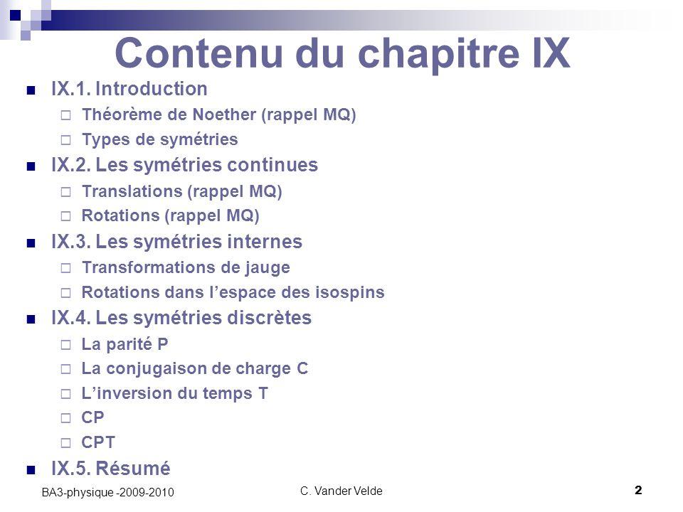 Contenu du chapitre IX IX.1. Introduction