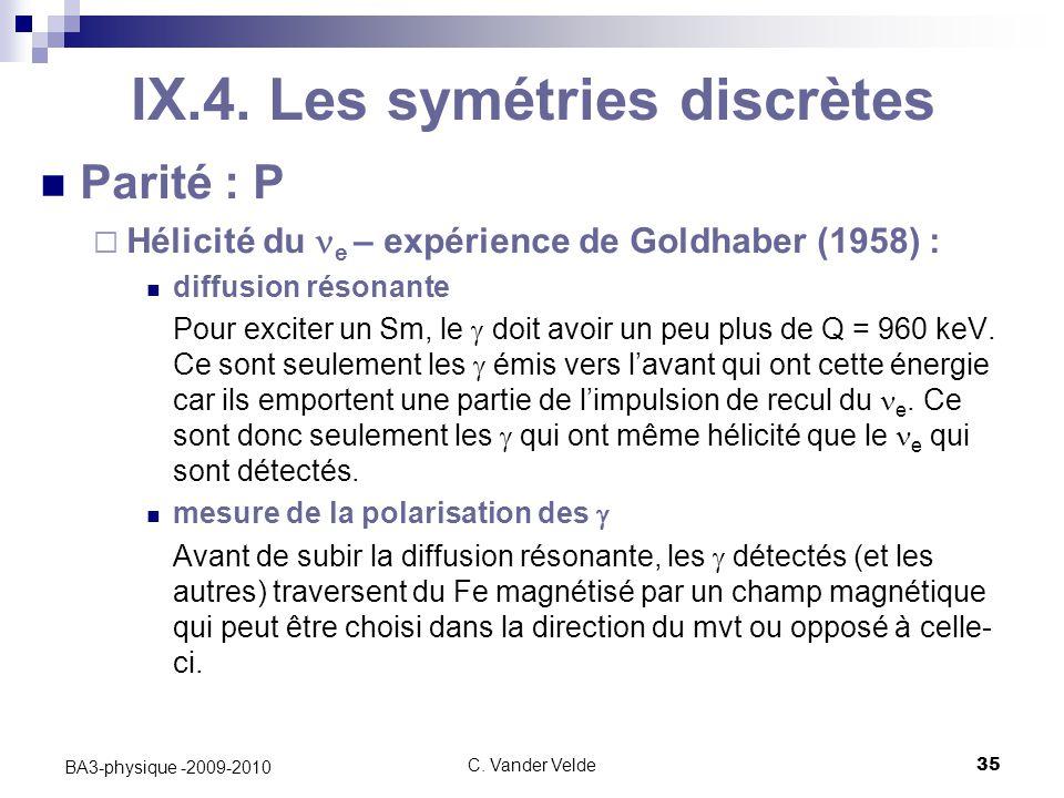 IX.4. Les symétries discrètes