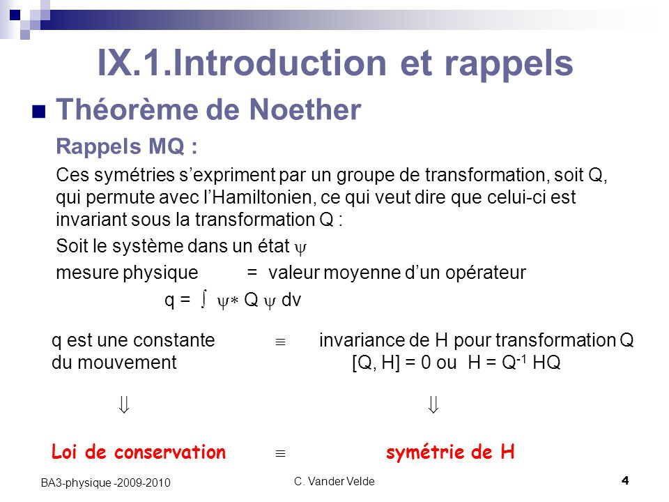 IX.1.Introduction et rappels
