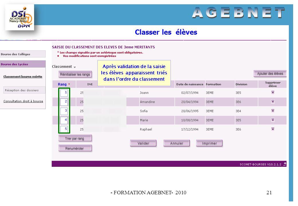 Classer les élèves - FORMATION AGEBNET- 2010