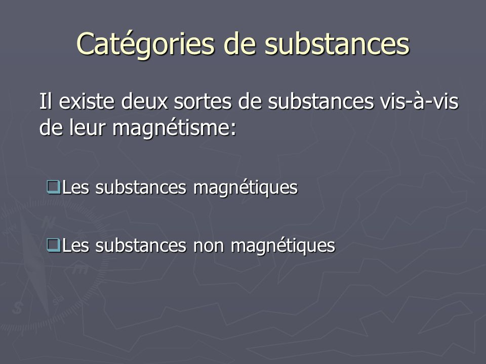 Catégories de substances