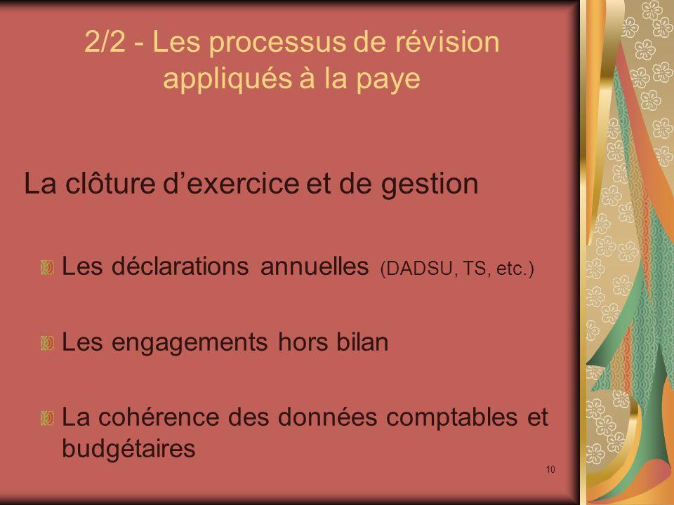 2/2 - Les processus de révision appliqués à la paye