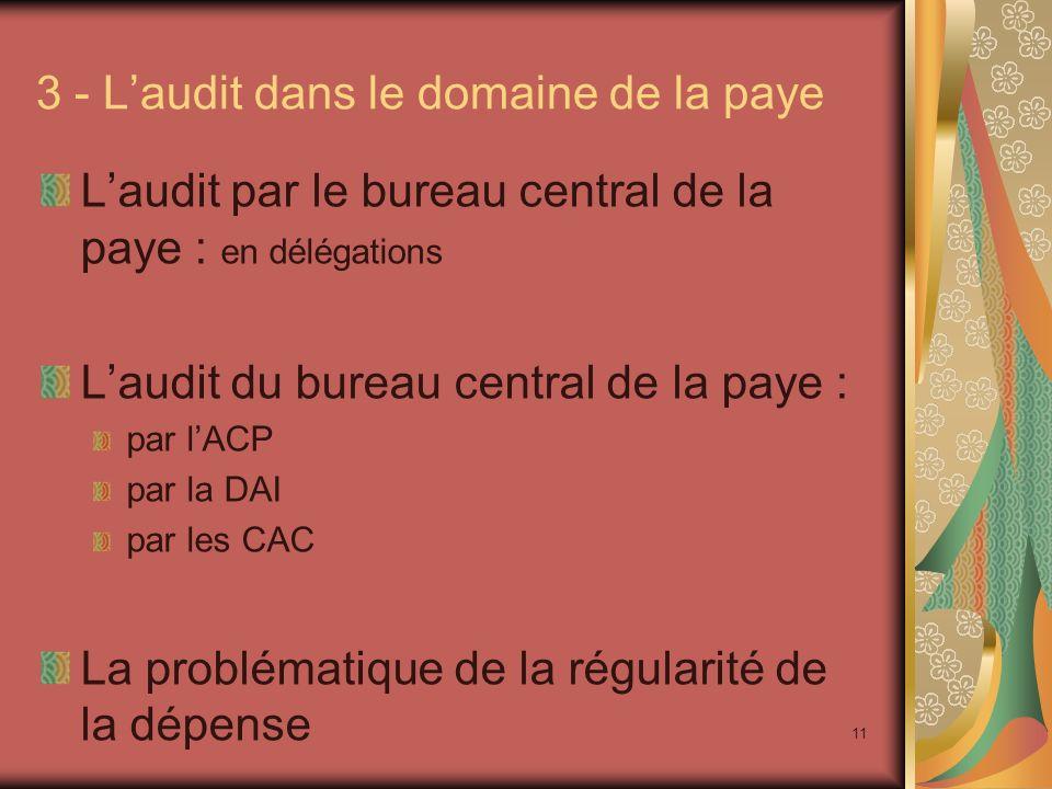 3 - L'audit dans le domaine de la paye