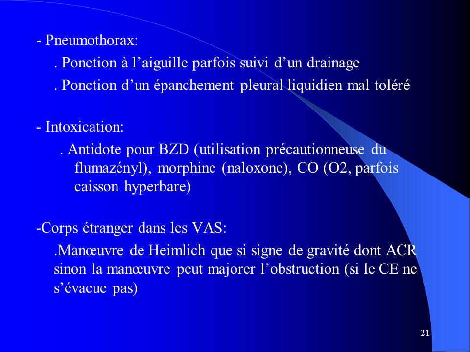 - Pneumothorax: . Ponction à l'aiguille parfois suivi d'un drainage. . Ponction d'un épanchement pleural liquidien mal toléré.