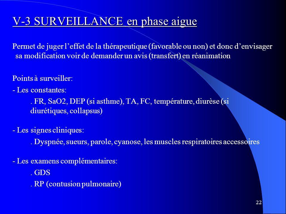 V-3 SURVEILLANCE en phase aigue