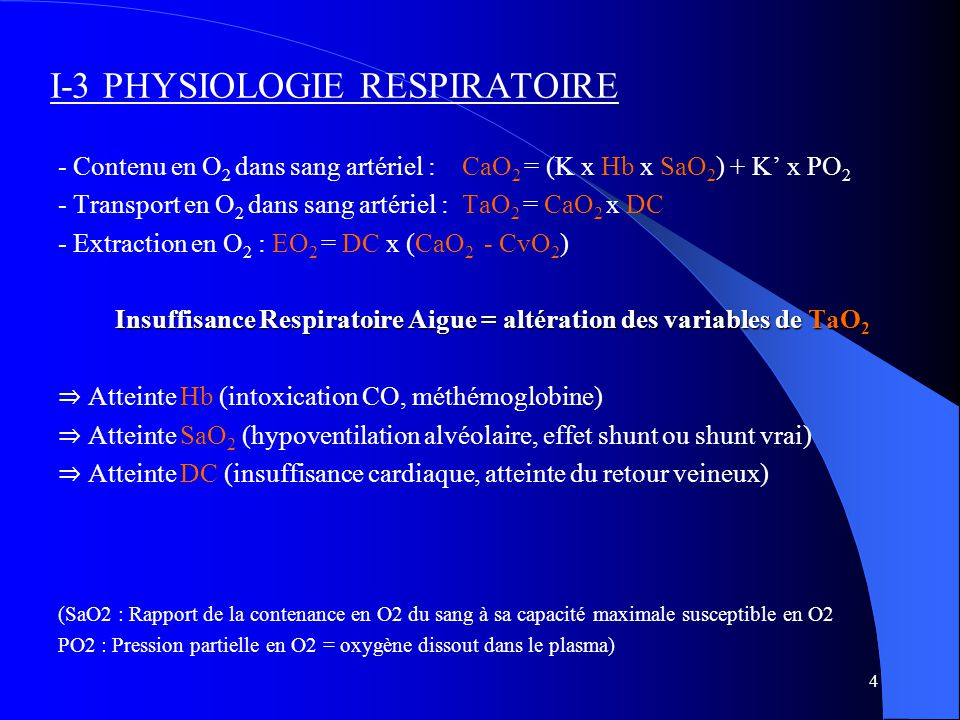 I-3 PHYSIOLOGIE RESPIRATOIRE