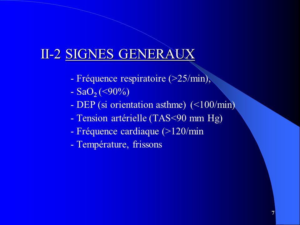 II-2 SIGNES GENERAUX - Fréquence respiratoire (>25/min),