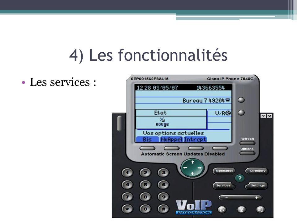4) Les fonctionnalités Les services :