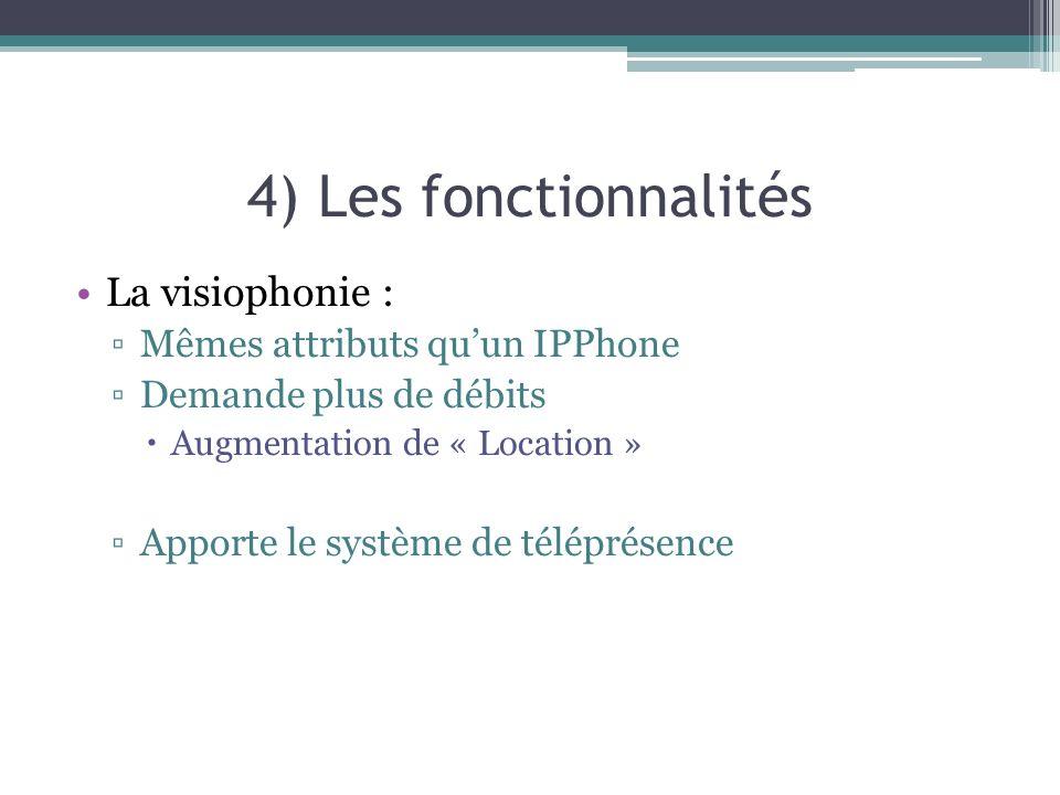 4) Les fonctionnalités La visiophonie : Mêmes attributs qu'un IPPhone