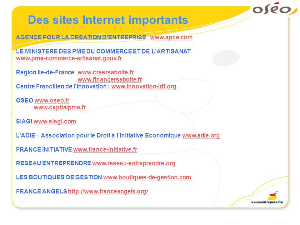 Des sites Internet importants