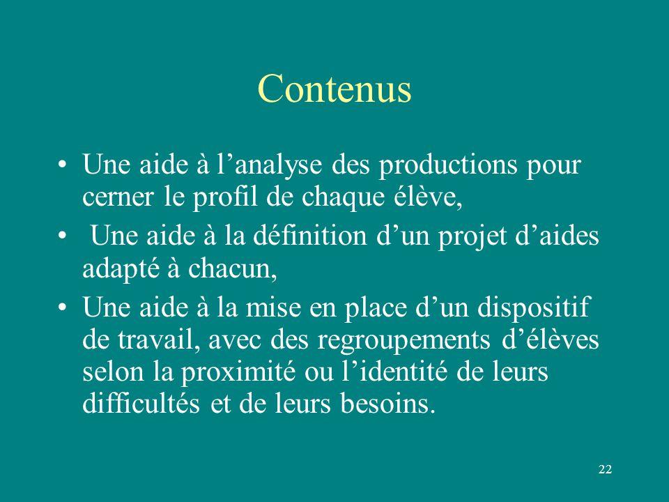 Contenus Une aide à l'analyse des productions pour cerner le profil de chaque élève, Une aide à la définition d'un projet d'aides adapté à chacun,