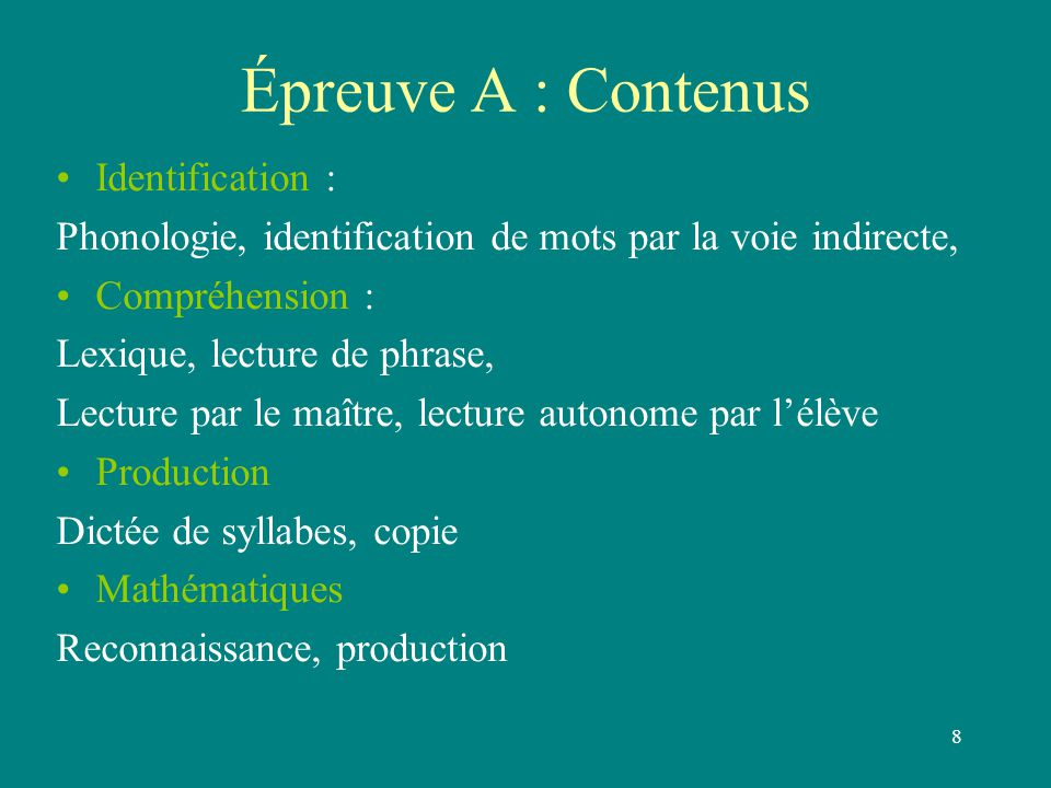 Épreuve A : Contenus Identification :