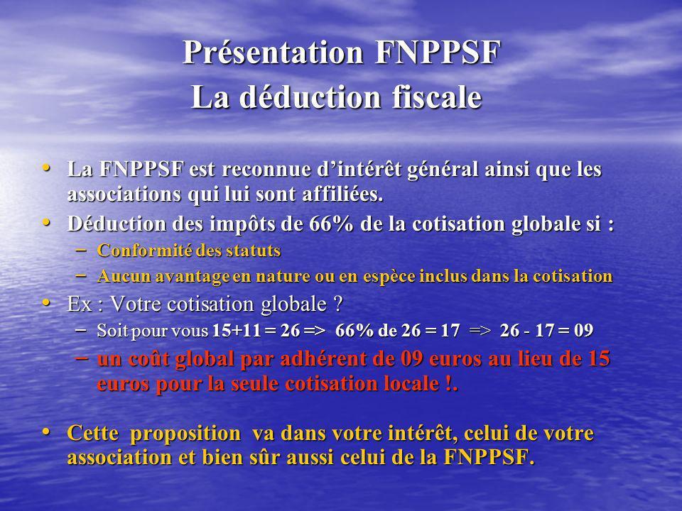 Présentation FNPPSF La déduction fiscale