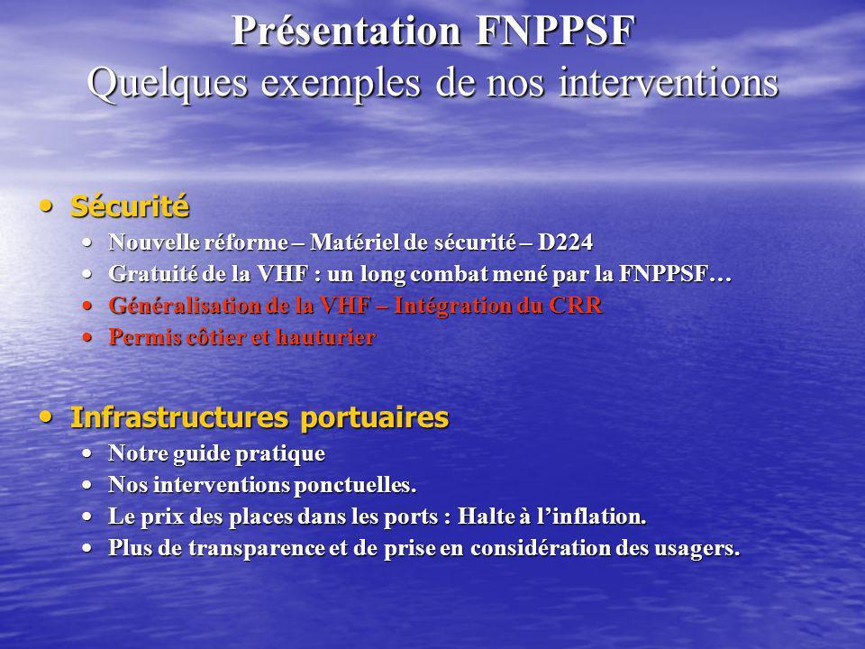 Présentation FNPPSF Quelques exemples de nos interventions