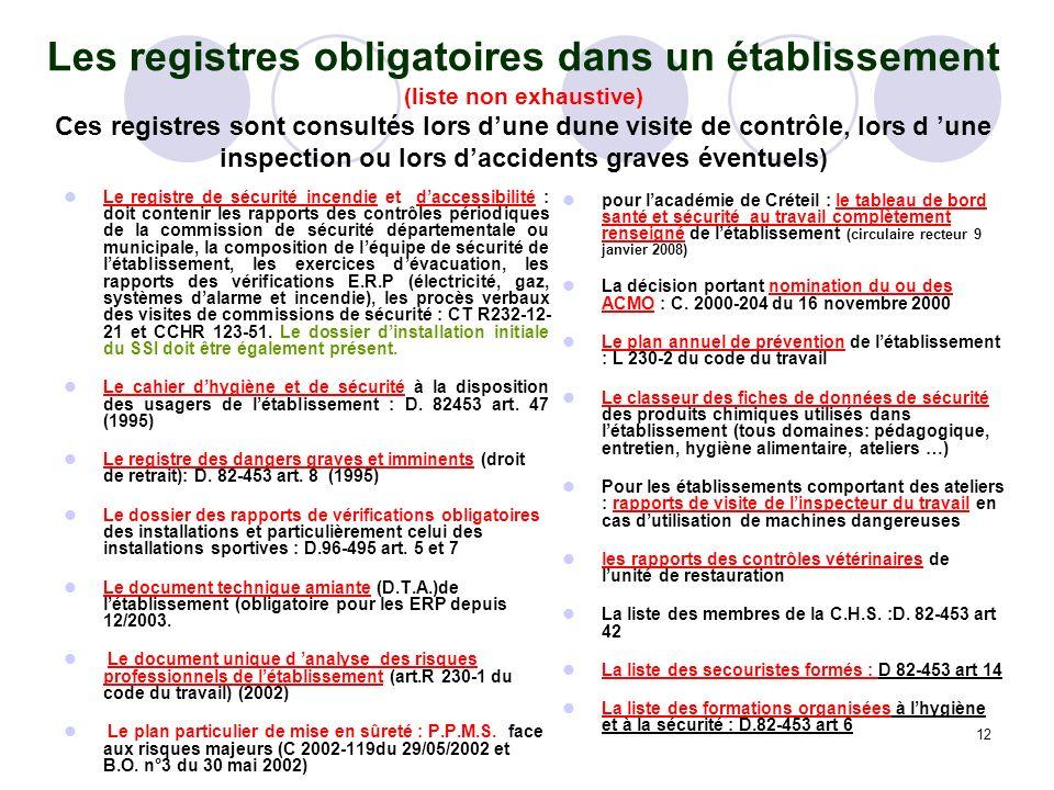Les registres obligatoires dans un établissement (liste non exhaustive) Ces registres sont consultés lors d'une dune visite de contrôle, lors d 'une inspection ou lors d'accidents graves éventuels)