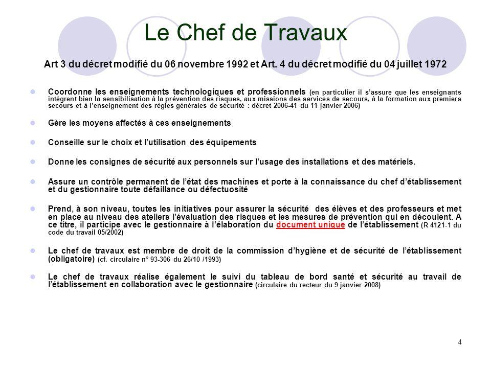 Le Chef de Travaux Art 3 du décret modifié du 06 novembre 1992 et Art