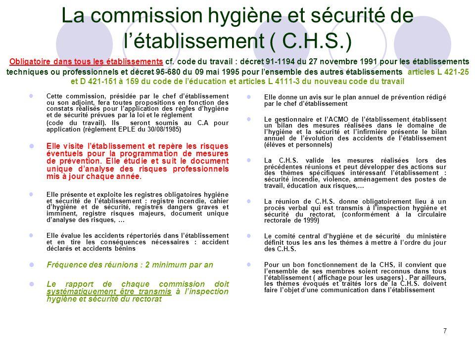La commission hygiène et sécurité de l'établissement ( C. H. S