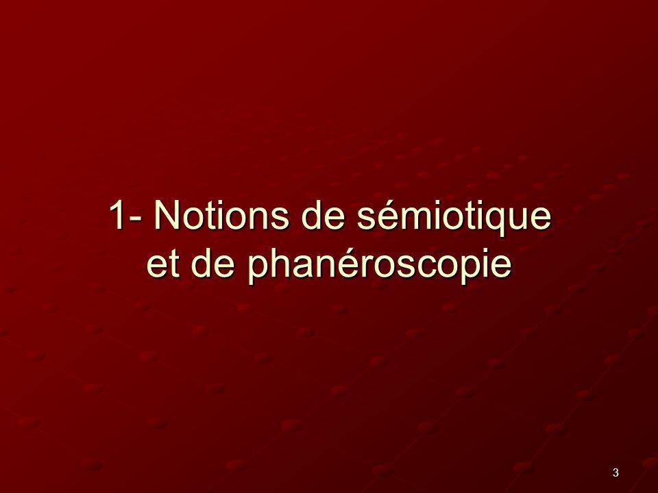 1- Notions de sémiotique et de phanéroscopie