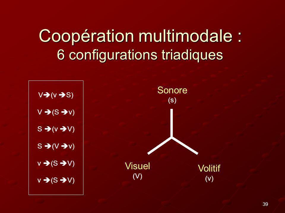 Coopération multimodale : 6 configurations triadiques
