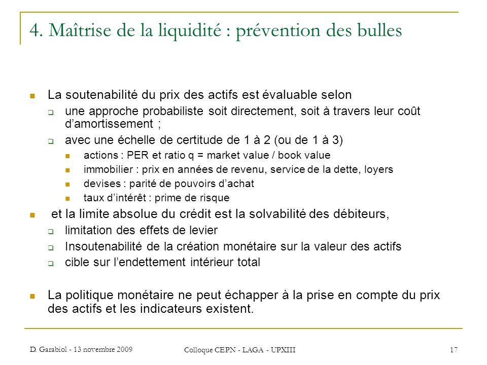 4. Maîtrise de la liquidité : prévention des bulles