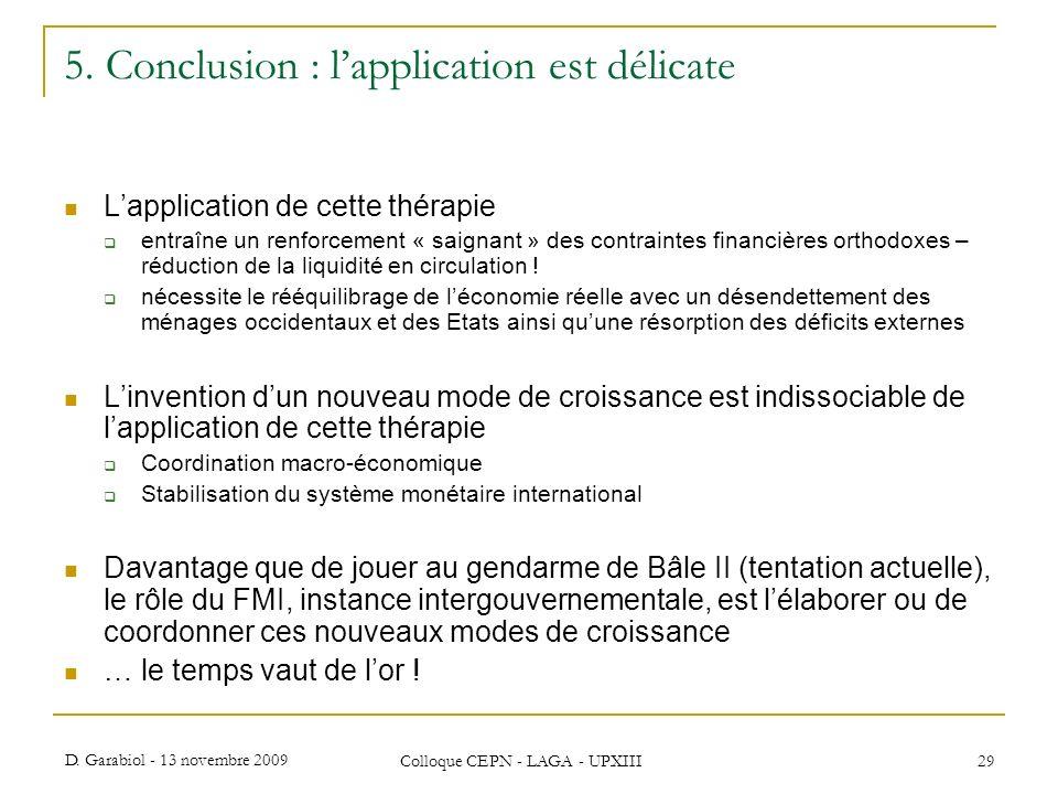 5. Conclusion : l'application est délicate