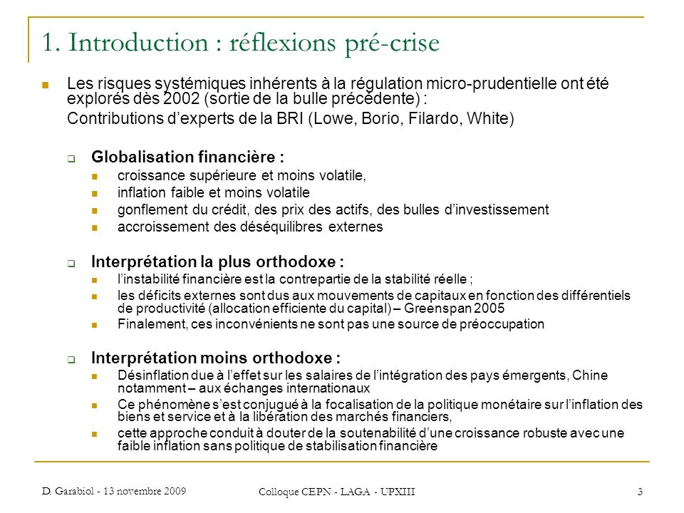 1. Introduction : réflexions pré-crise
