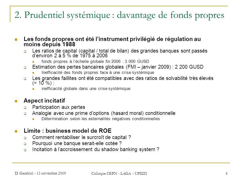 2. Prudentiel systémique : davantage de fonds propres