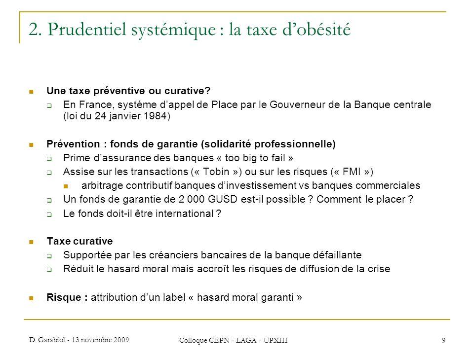 2. Prudentiel systémique : la taxe d'obésité
