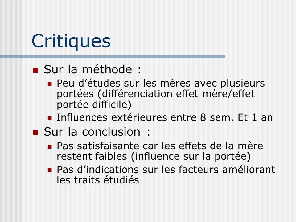 Critiques Sur la méthode : Sur la conclusion :