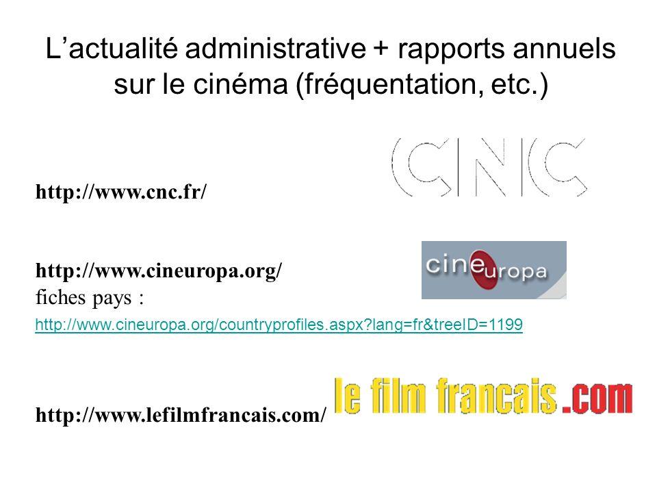 L'actualité administrative + rapports annuels sur le cinéma (fréquentation, etc.)