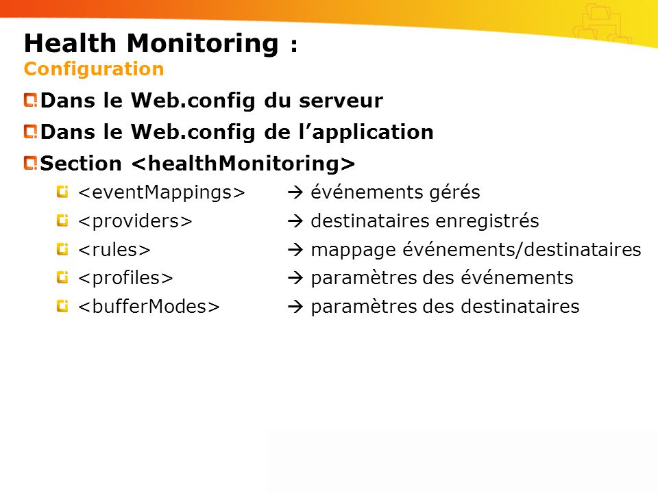 Health Monitoring : Configuration