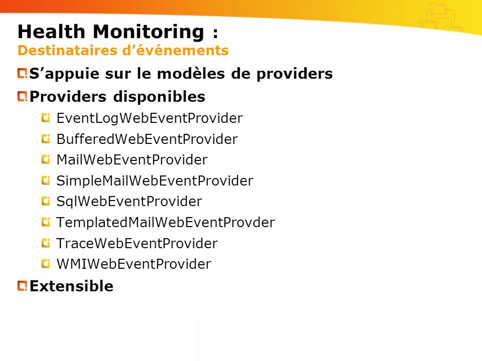 Health Monitoring : Destinataires d'événements