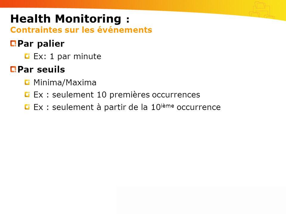 Health Monitoring : Contraintes sur les événements