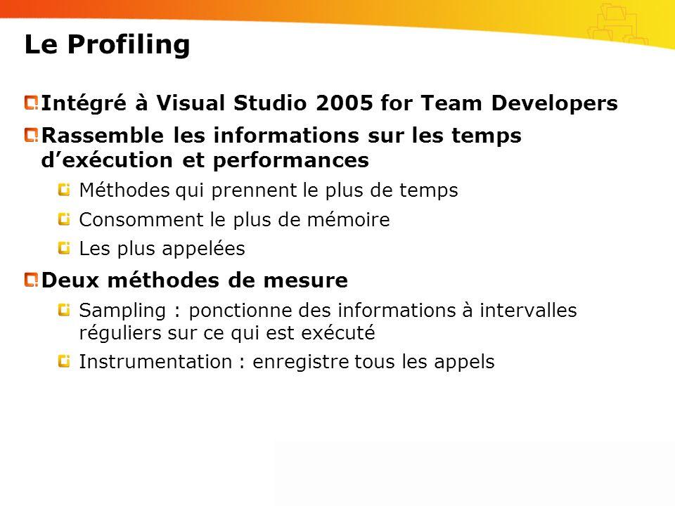 Le Profiling Intégré à Visual Studio 2005 for Team Developers