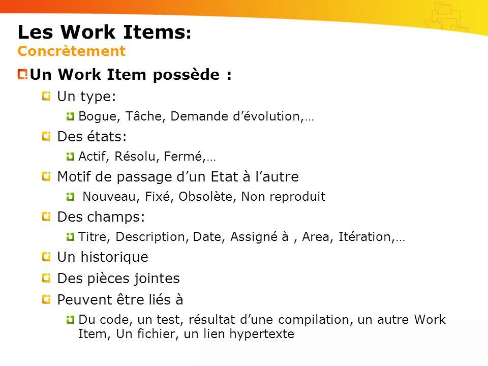 Les Work Items: Concrètement