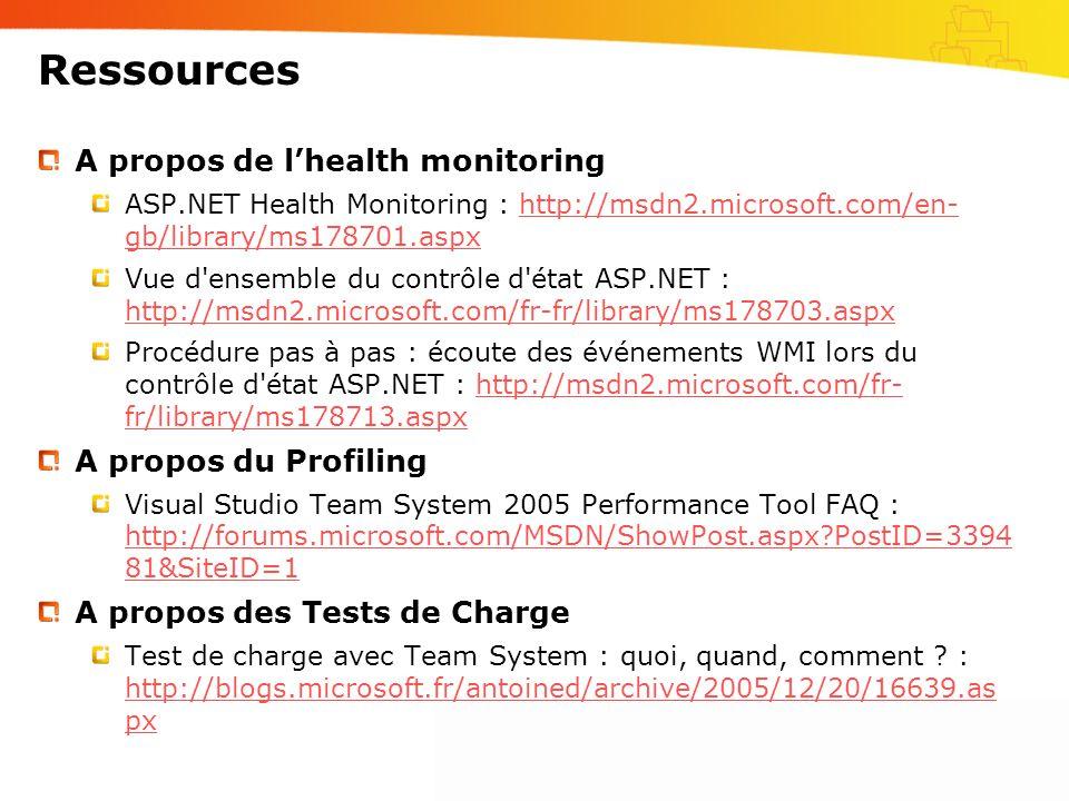 Ressources A propos de l'health monitoring A propos du Profiling