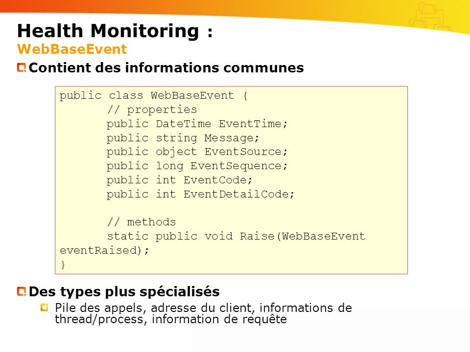 Health Monitoring : WebBaseEvent