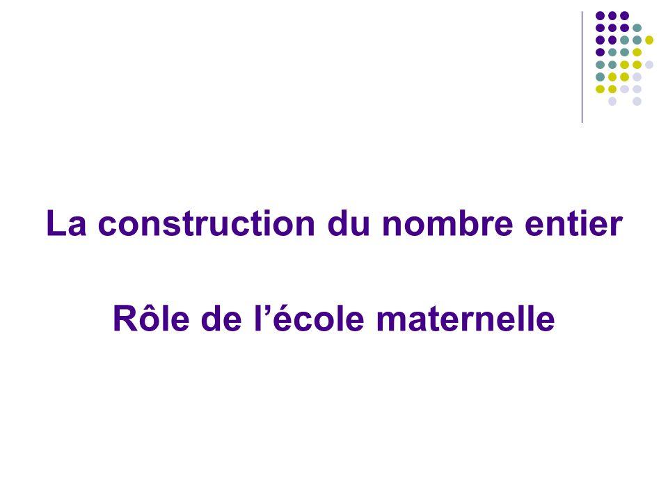 La construction du nombre entier Rôle de l'école maternelle