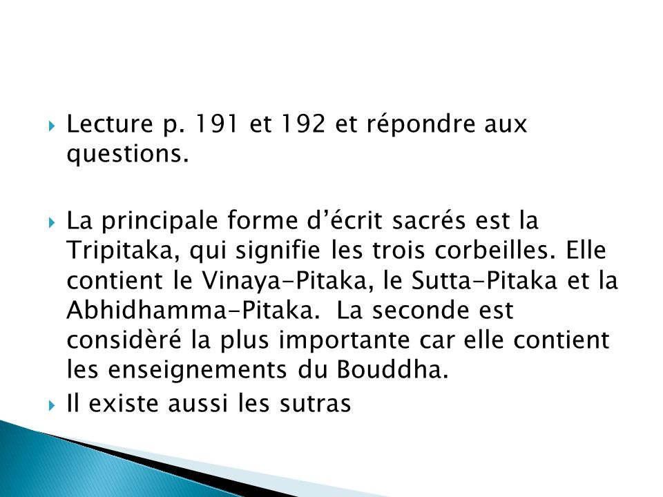 Lecture p. 191 et 192 et répondre aux questions.