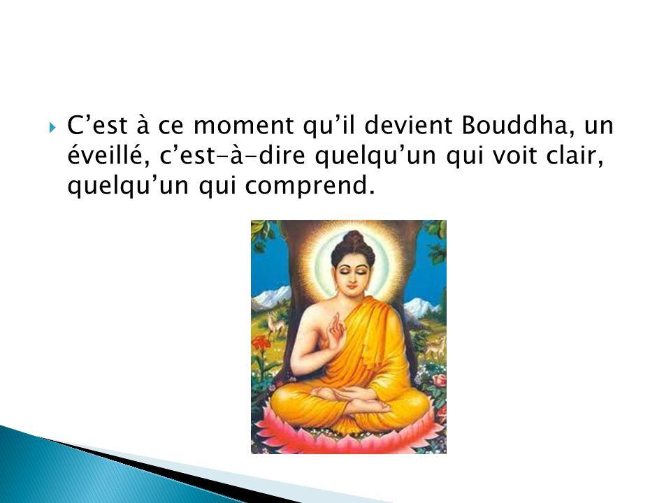 C'est à ce moment qu'il devient Bouddha, un éveillé, c'est-à-dire quelqu'un qui voit clair, quelqu'un qui comprend.