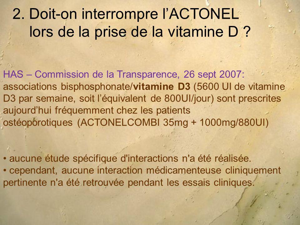 2. Doit-on interrompre l'ACTONEL lors de la prise de la vitamine D