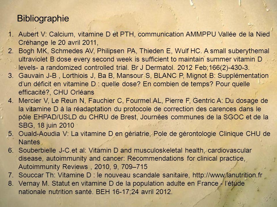 Bibliographie Aubert V: Calcium, vitamine D et PTH, communication AMMPPU Vallée de la Nied Créhange le 20 avril 2011,