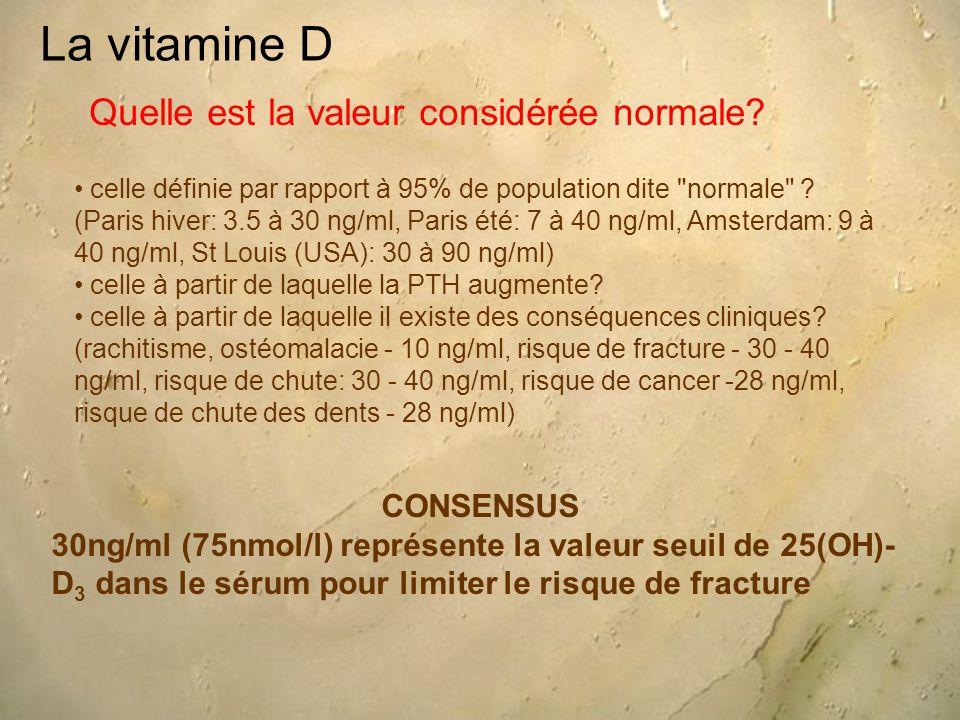 La vitamine D Quelle est la valeur considérée normale CONSENSUS