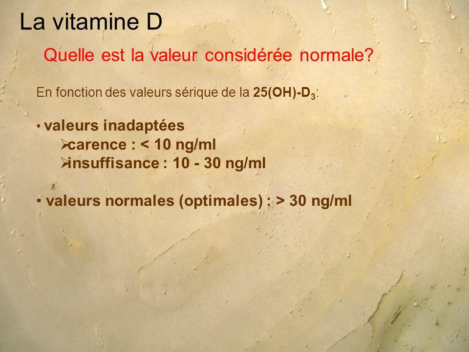 La vitamine D Quelle est la valeur considérée normale